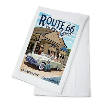 66 Kitchen - Claremont, California - Route 66 (#2) - Service Station - Lantern Press Poster (100% Cotton Kitchen Towel)