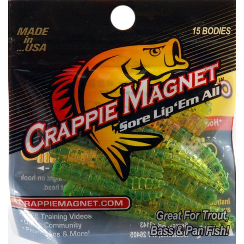 Trout Magnet Crappie Magnet Plastic Lure, Chartreuse and Black, Pack of 15