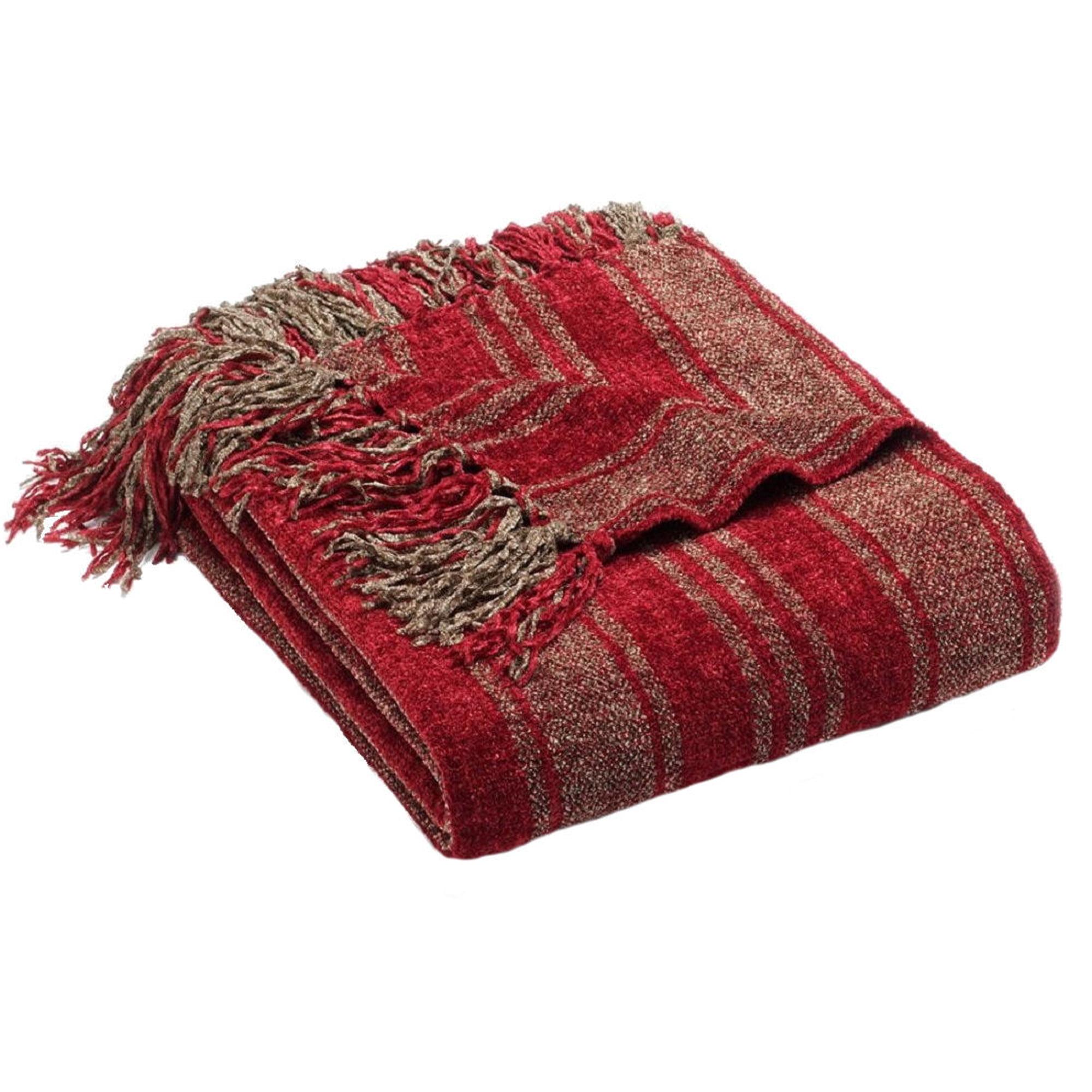 Luxury Striped Chenille Throw Blanket