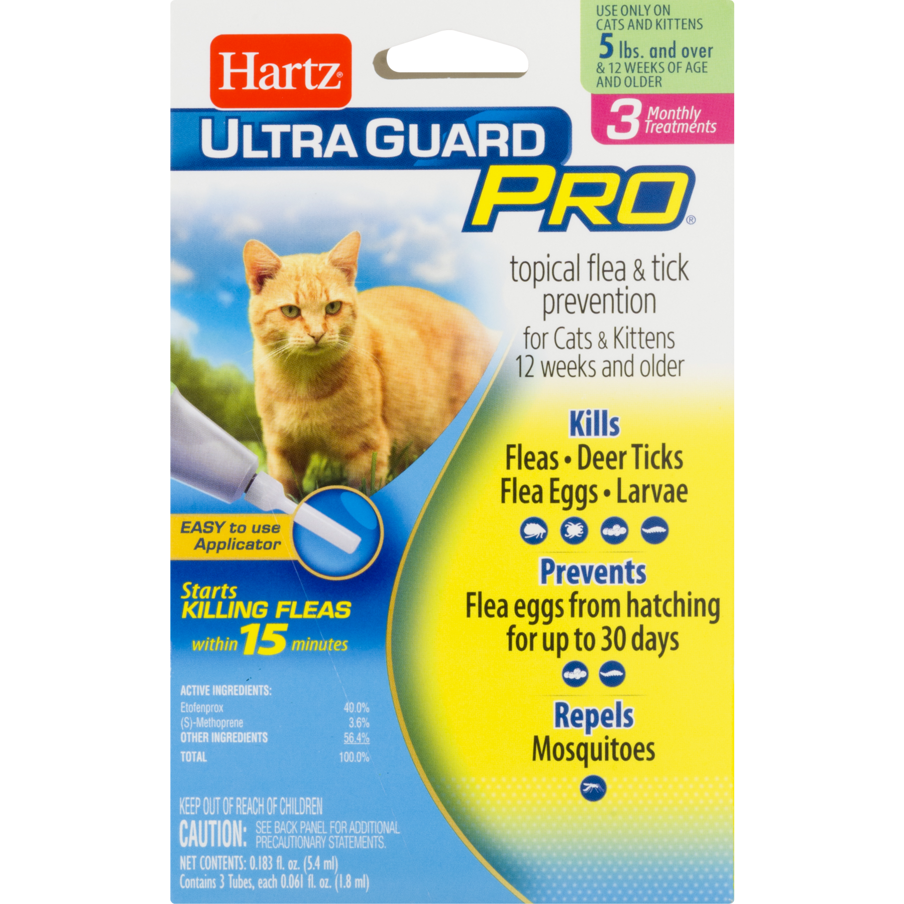 Hartz UltraGuard Pro Flea and Tick Cat Treatment, 3 Monthly ...