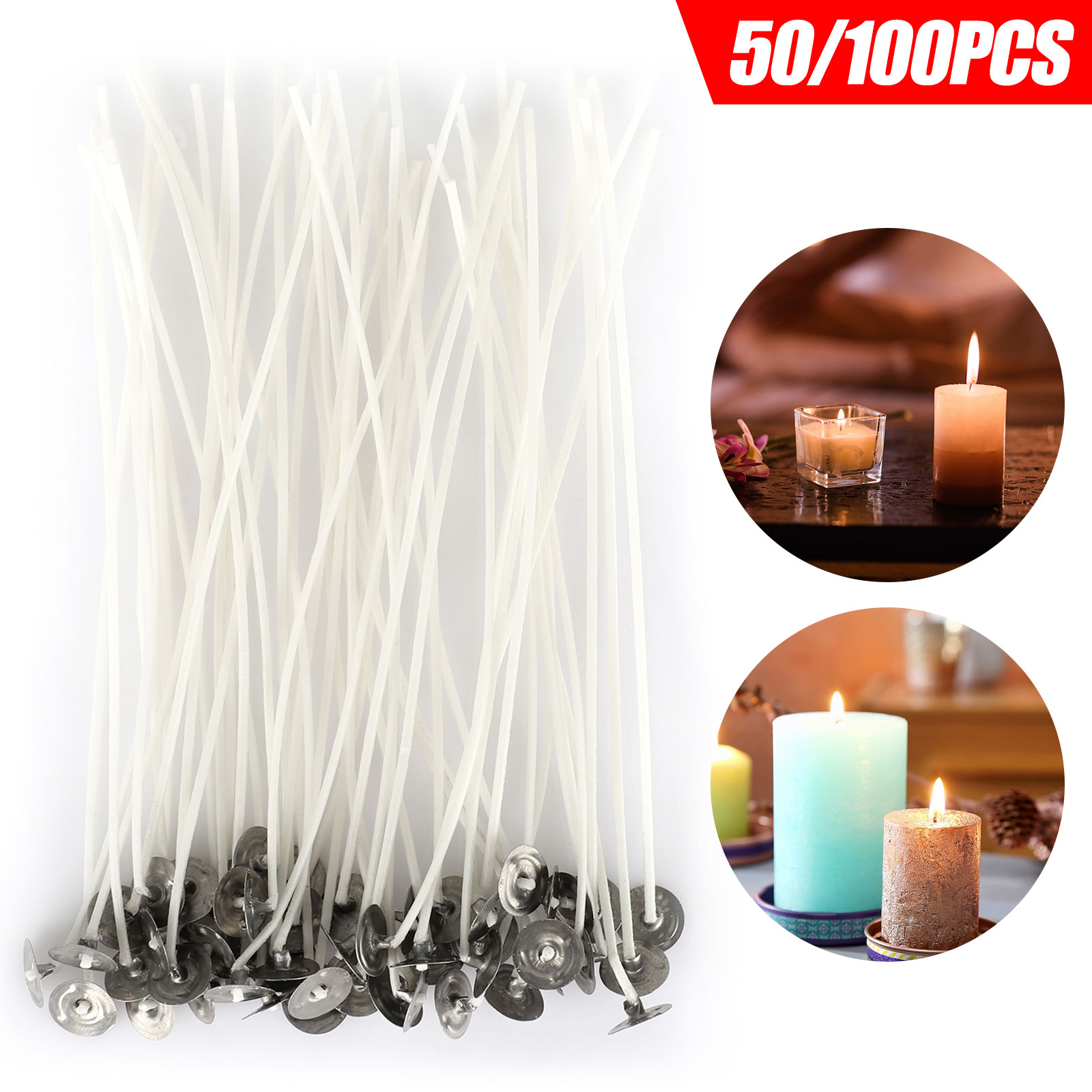 Aodaer 300 Piece Cotton Candle Wicks Natural Candle Wicks Functional Smokeless Candle Wicks with 300 Double-Sided Dots Wick Stickers 3 Centering Device 2 Metal Can 5.9 Inch 7.87 Inch 3.54 Inch