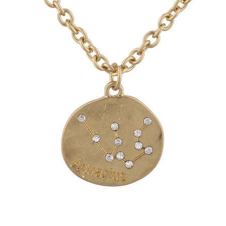 Lux Accessories Goldtone Crystal Aquarius Zodiac Horoscope Necklace