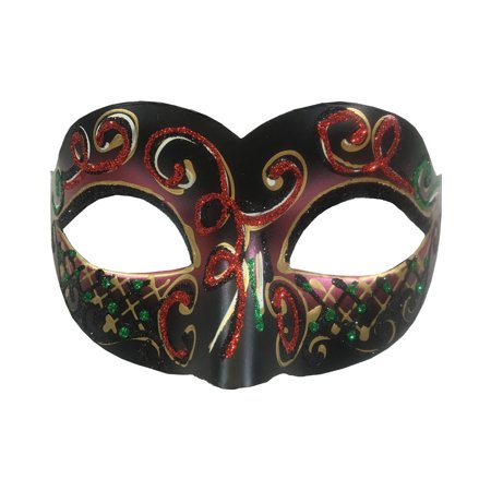 Adult's Carnival Red Glitter Venetian Festival Eye Mask Costume Accessory (Ideas For Carnival Costumes)
