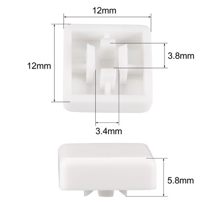 20Pcs Plastic 12x12mm Pushbutton Tactile Switch Caps Cover Keycaps White for 12x12x7.3mm Tact Switch - image 3 de 3