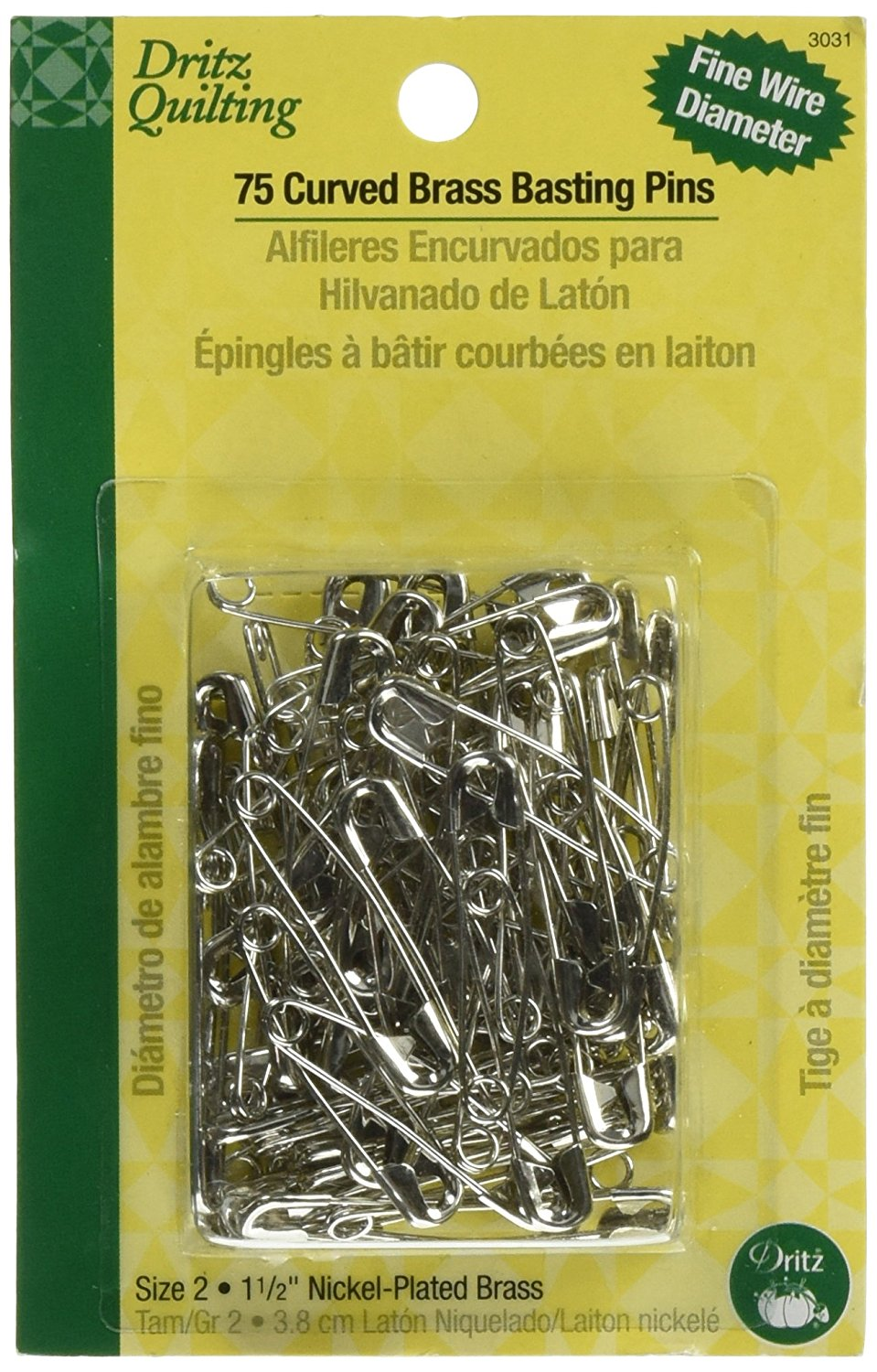 75-Count Size 2 Nickel-Plated Brass Dritz 3031 Curved Basting Safety Pins