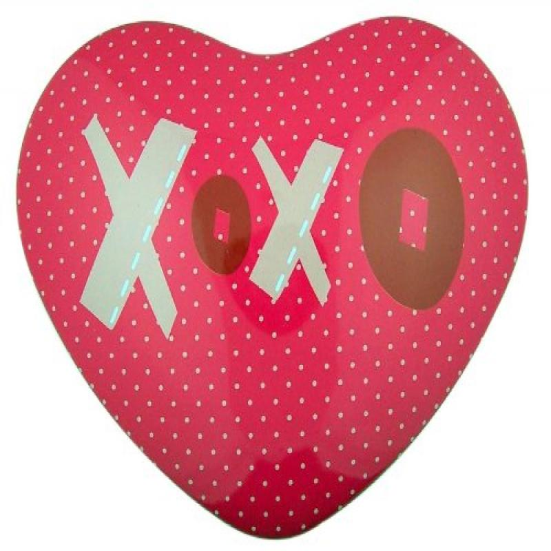 XOXO Hugs and Kisses Heart Shape Hot Pink Tin for Candy or Valentines Day Gift