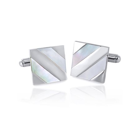 Stainless Steel Diagonal Mother of Pearl Stripe Inlay Cufflinks