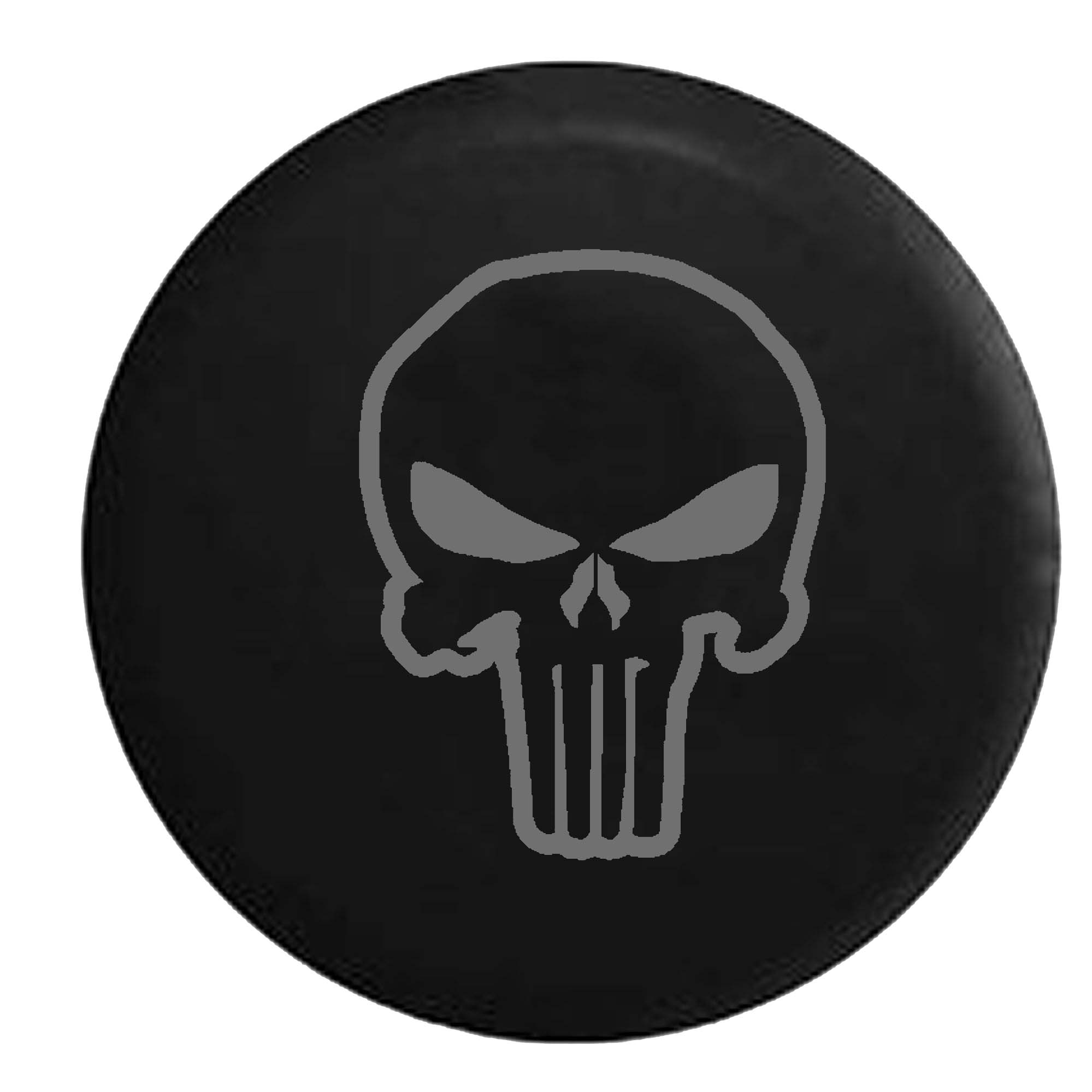 Punisher Skull Shadow Edition Spare Tire Cover Vinyl Stealth Black 31 in
