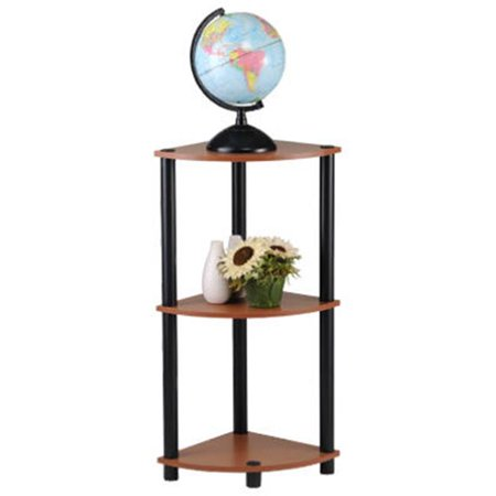 Cherry Corner Shelf - PBF-0286-303 3 Tier Cherry Finish With Black Accents Corner Shelf