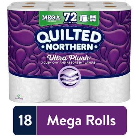 Quilted Northern Ultra Plush Toilet Paper, 18 Mega Rolls (= 72 Regular Rolls)