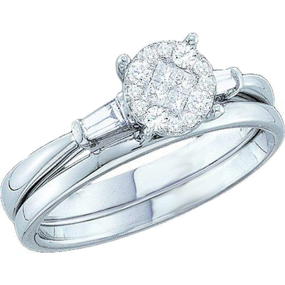 Dazzling Rock 0.30 Carat (ctw) 14K Gold Princess, Round &...