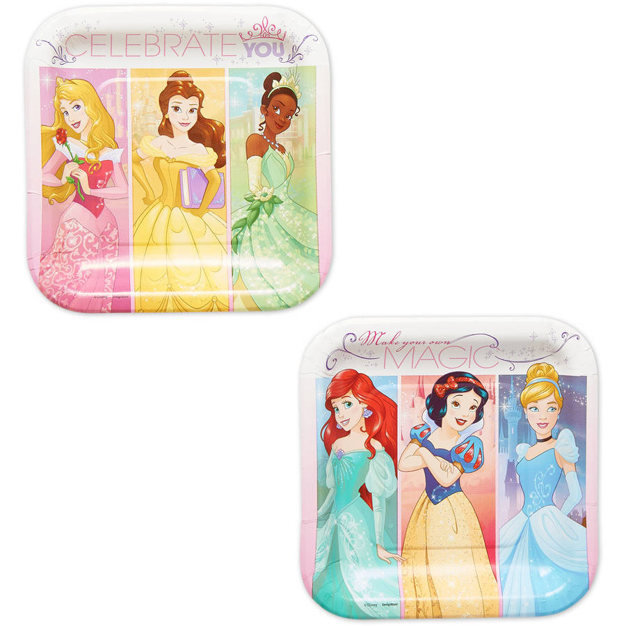 "Disney Princess 7"" Square Plate, 8 Count, Party Supplies"