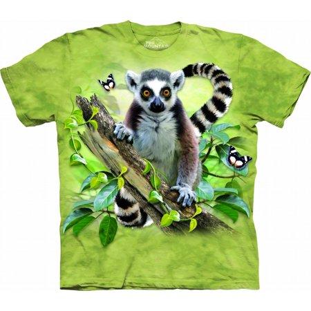 the mountain lemur & butterflies child t-shirt, green, small Butterfly Kids Light T-shirt