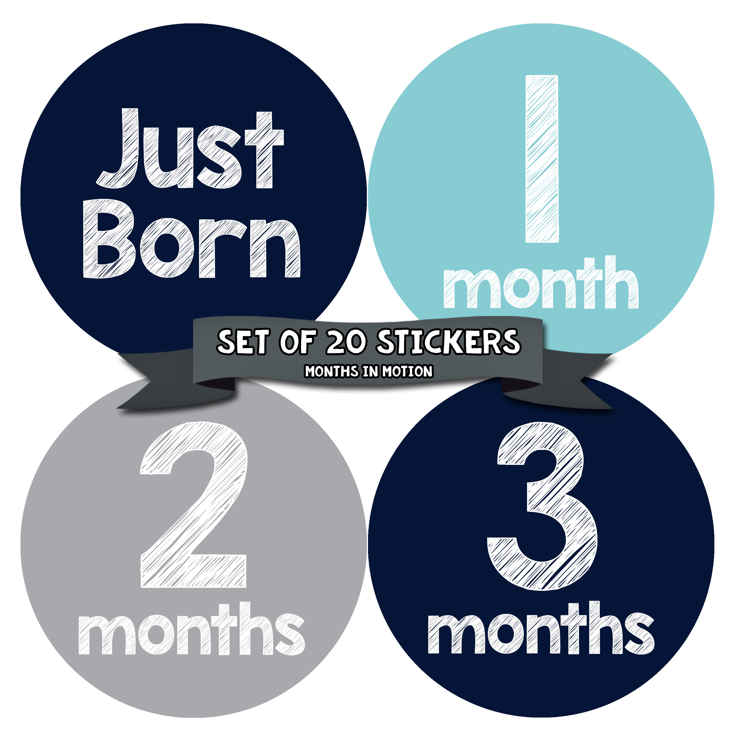 BLUE Monthly T-Shirt Stickers Baby Shower Gift put on belly every month BOY