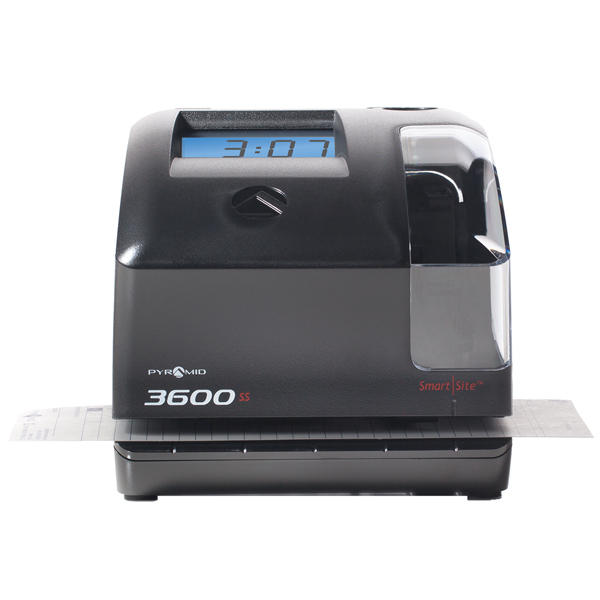 Pyramid 3600SS SmartSite Multi-Purpose Time Clock and Document Stamp Bundle, includes 225 time cards, 2 ribbon cartridges
