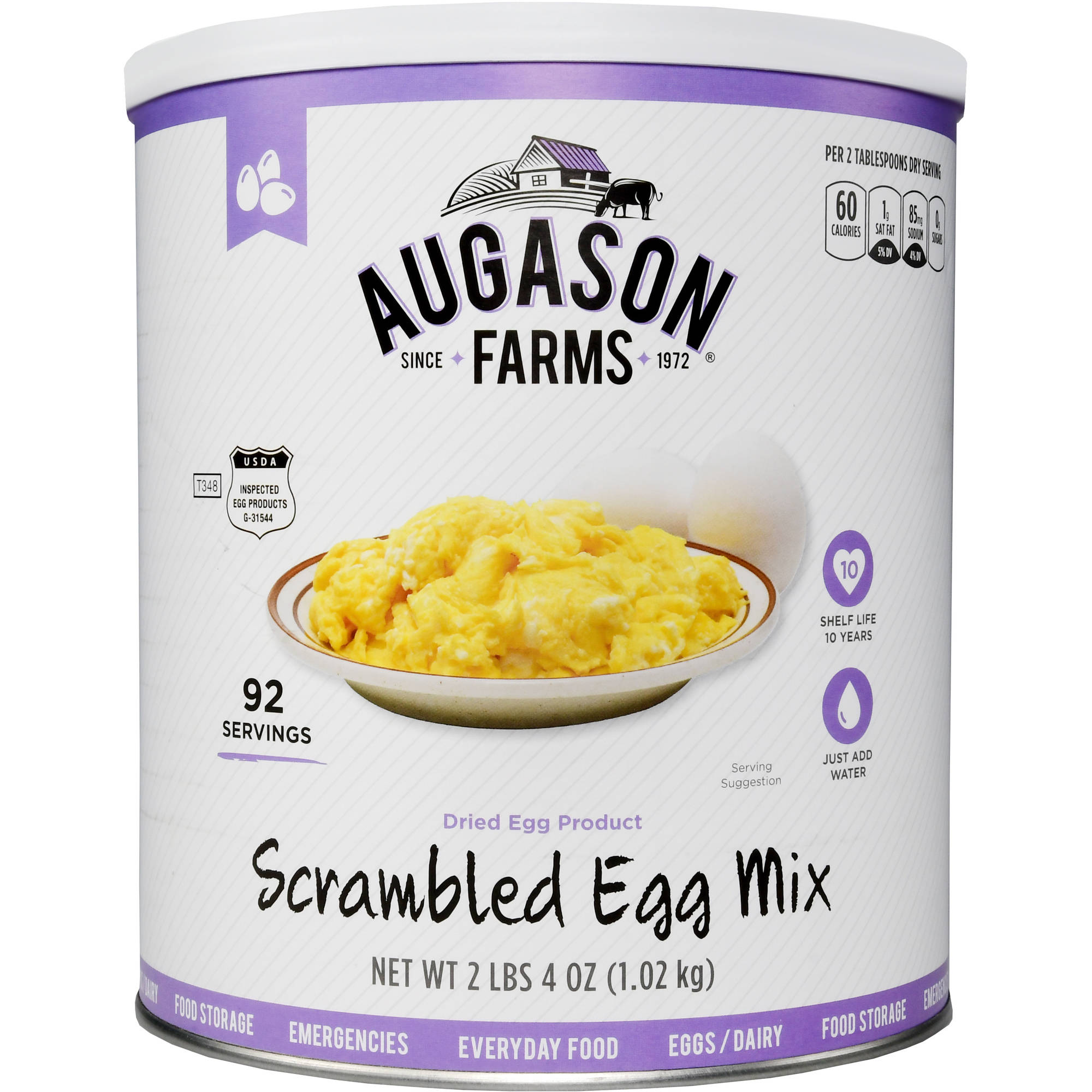 Augason Farms Emergency Food Scrambled Egg Mix, 36 oz
