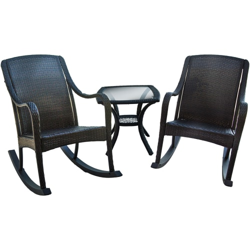 Hanover Orleans 3-Piece Wicker Rocking Chair Set Brown ORLEANS3PCRKR