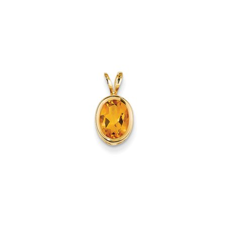 8x6mm Oval Bezel (14K Yellow Gold 8x6mm Oval Synthetic Citrine Bezel Pendant 13mm x 7mm )