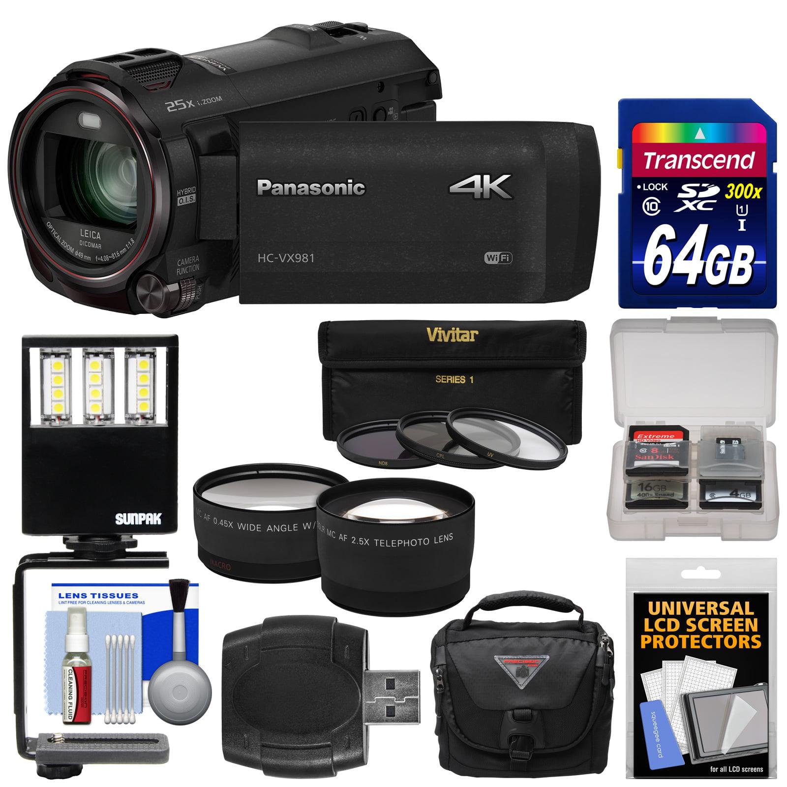 Panasonic HC-VX981 Wi-Fi 4K Ultra HD Video Camera Camcorder with 64GB Card + Case + LED Light + 3 Filters + Tele/Wide Lens Kit