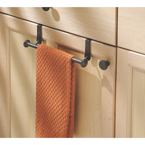 InterDesign York Over-the-Cabinet Kitchen Dish Towel Bar Holder, Bronze