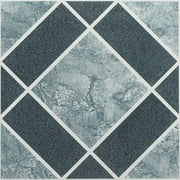 Achim Nexus Self Adhesive Vinyl Floor Tile - 20 Tiles/20 sq. ft., 12 x 12, Light & Dark Blue Diamond Pattern