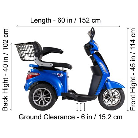 T4B LU-500W Mobility Electric Recreational Outdoors Scooter 48V20AH with Three Speeds, 14/22/32kmph - Blue - image 8 de 14