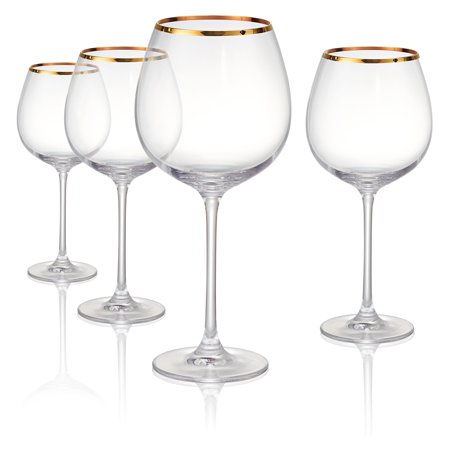 Artland Gold Band Burgundy Wine Glasses - Set of 4