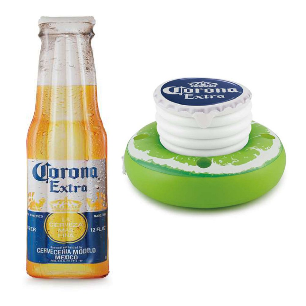 "Corona Beer Bottle 68.5"" x 22"" Inflatable Pool Float Mat + Lime Floating Cooler - image 12 de 12"