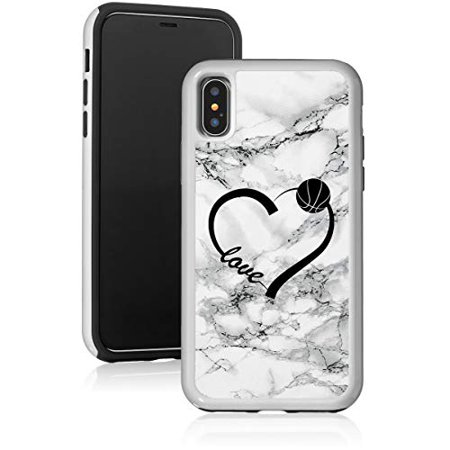 Marble Shockproof Impact Hard Soft Case Cover for Apple iPhone Love Heart Basketball (Black, for Apple iPhone SE/iPhone 5 / iPhone 5s)