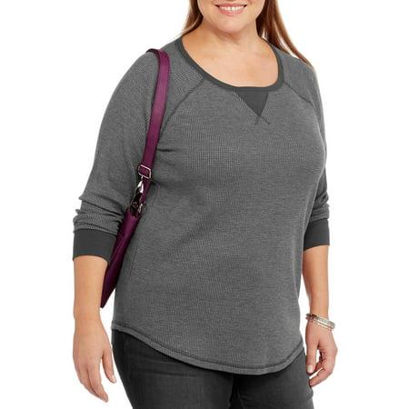 Women S Plus Size Long Sleeve Raglan Thermal Tee