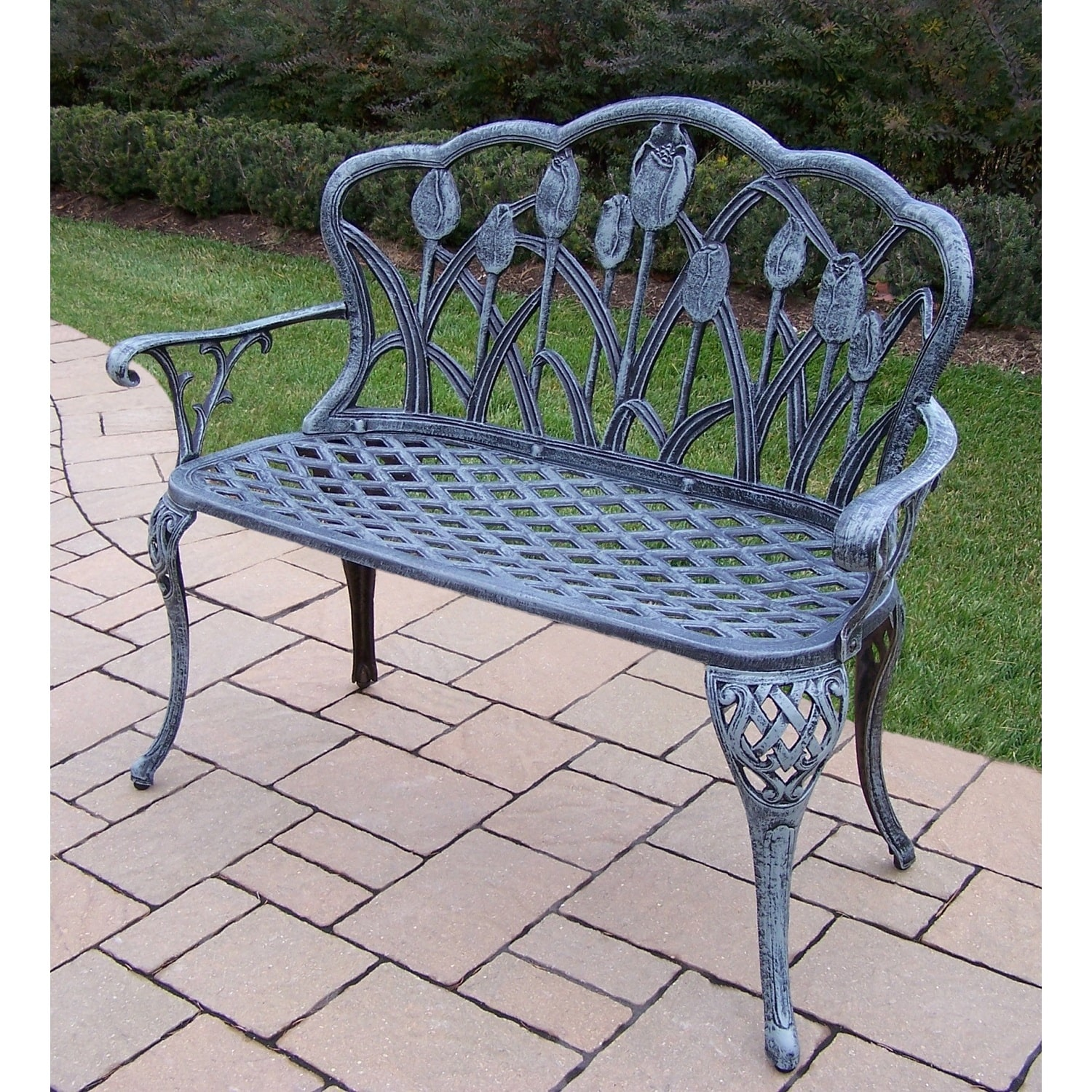 Oakland Living Corporation Tierra Verdi Grey Cast Aluminum Loveseat Bench