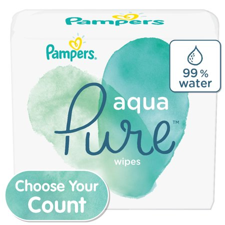 Pampers Aqua Pure Natural Sensitive Baby Wipes, 8 Pop-Top Packs, 448 Total Wipes