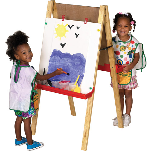 Double-Sided Adjustable Easel Chalkboard and Dry-Erase