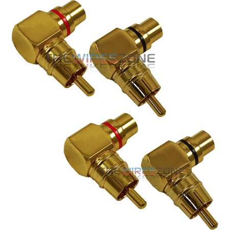 Male to Female Gold Audio RCA Right Angle Connector Plug Adapter (4/Pack)