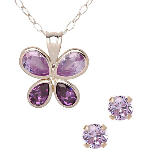 Lavender and Purple CZ Sterling Silver Butterfly Pendant and Earrings Set