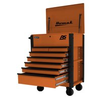 Homak OG06035247 35 in. 7-Drawer Flip-Top Service Cart - Orange