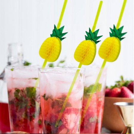 - HiCoup 10Pcs 3D Pineapple Tropical Fruit Straw Beach Party Cocktail Drinking Sucker