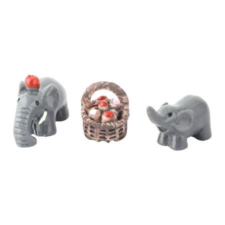 Unique Bargains Home Resin Elephant Design Desk Table Decor Landscape Assorted Color 3 in - Elephant Color