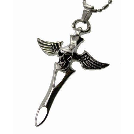 Skull Wings Pendant (R.H. Jewelry Stainless Steel Pendant Angel Wings Skull Cross Necklace )