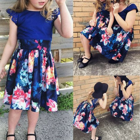 Mother Daughter Women Toddler Kid Girl Family Floral Summer Party Dress Sundress - Family Dress