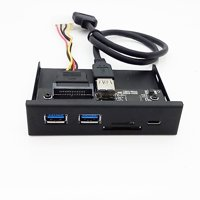 33S50-RTK Card Reader Media Type-C Dual USB 3.0 Port Hub Dashboard PC Front Panel with USB Power Cable