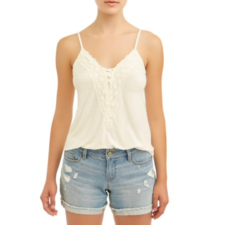Lace Front Cami (Juniors' Caged Front Lace Trim Jersey Knit Cami)