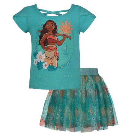 Disney Moana Girls' Short Sleeve T-Shirt & Skirt Clothing Set, Blue (2T) - Manga Outfits