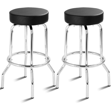 Costway Set of 2 Bar Stools PU Leather Round Seat Backless Swivel Pub Kitchen Furniture ()