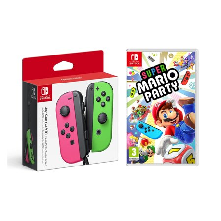 Nintendo Switch - Joy-Con (L/R) - Neon Pink/Neon Green, Super Mario Party - Nintendo Switch Game (Game Disc) Family Party Game ()
