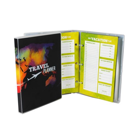Mini Travel Planner and Scrapbook, 3 Trips,15 Page Protectors - Watercolor