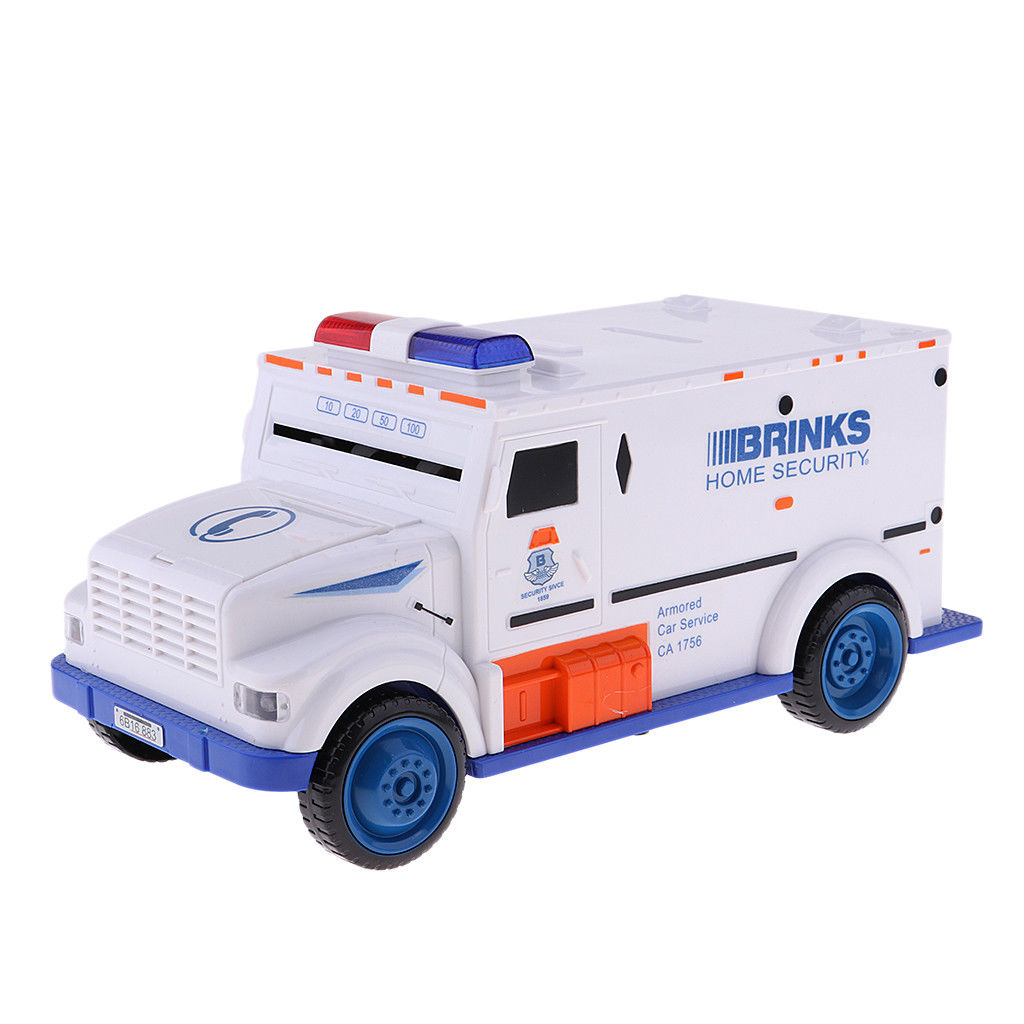 White Armored Truck Password Piggy Bank Money Saving Box with Coin & Note Insertion Music by