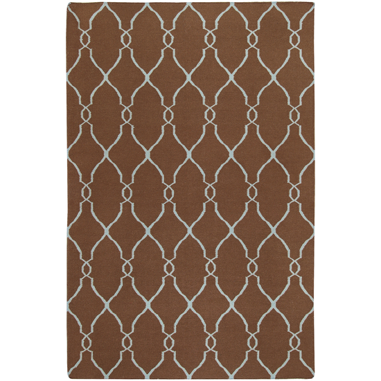 8' x 11' Robin's Egg Mocha Brown and Foggy Blue Hand Woven Wool Area Throw Rug