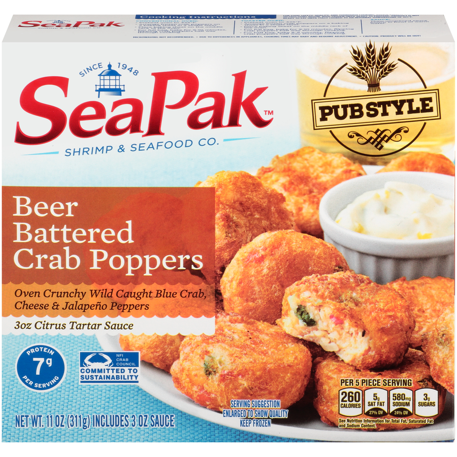 Sea Pak Beer Battered Crab Poppers, Authentic Pub Style, Oven Crunchy, Wild Caught Blue Crab, Cheese and Jalapeno Peppers,11 Ounces