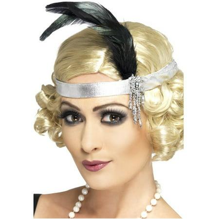 Womens Silver Satin Charleston Flapper Headband With Feather Costume - Silver Flapper Headband